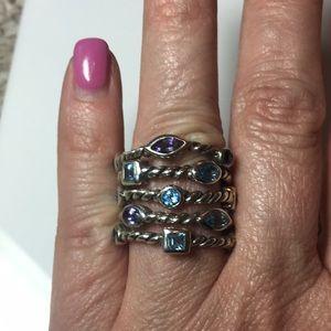 Sterling Silver Iolite& Blue Topaz ring 7